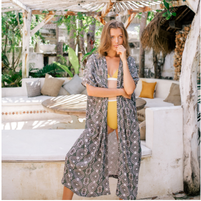 unique pattern tunic robe khaki